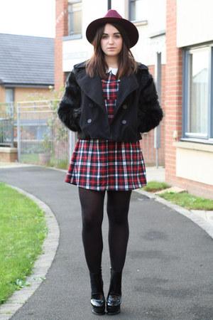 brick red tartan Hearts and Bows dress - black chunky heels Mart of China boots