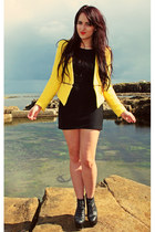 yellow zipper Zara blazer - black lita Jeffrey Campbell boots