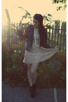bubble gum lace Topshop dress - black litas Jeffrey Campbell boots