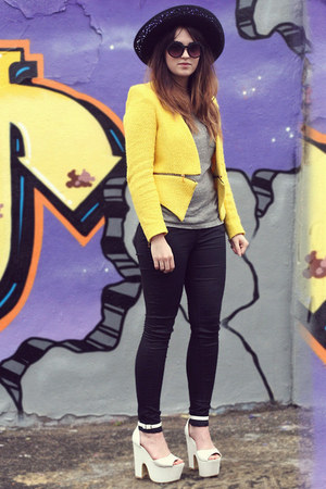 yellow Zara blazer - black All Saints jeans - black Laura Ashley hat