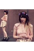 pink lace Lipsy top - black platorm Jeffrey Campbell boots - gold asos skirt