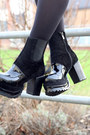Black-chunky-heels-mart-of-china-boots-brick-red-tartan-hearts-and-bows-dress