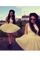 light yellow prom Topshop dress - black lita Jeffrey Campbell boots