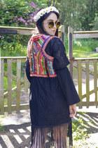 black Topshop dress - brown oversized zeroUV sunglasses