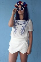 navy embroidered PERSUNMALL top - white heart zeroUV glasses
