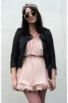 black biker All Saints coat - pink Choies dress