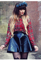 brick red tartan River Island blouse - navy metallic Miss Guided skirt