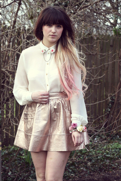 light pink asos skirt - white Topshop shirt