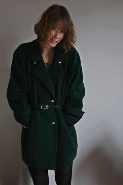 forest green thrifted coat - black H&M tights - black thrifted belt