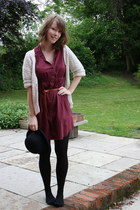 cream thrifted cardigan - maroon shirt H&M dress - black bowler hat