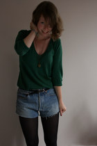 dark green Topshop jumper - blue cut-off Levis shorts - black thrifted belt