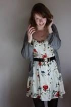 gold love Accessorize necklace - ivory flowery thrifted dress - black H&M tights