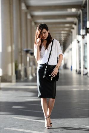 Style Societe skirt - bardot blouse - ankle heels asos heels