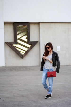 leather jacket Style Societe jacket - boyfriend jeans cotton on jeans
