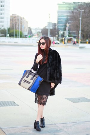 luggage tote Celine bag - faux fur coat Topshop coat - Celine sunglasses