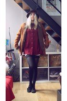 vintage coat - Vans shoes - vintage hat - H&M skirt - vintage blouse
