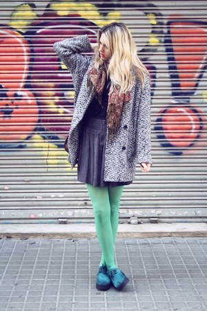 aquamarine H&amp;M tights - H&amp;M shoes - vintage coat - charcoal gray Zara skirt