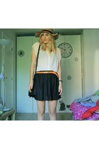 black Primark bag - tan Primark hat - carrot orange Primark belt