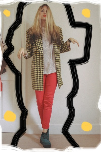 thrifted coat - H&M shoes - Primark pants
