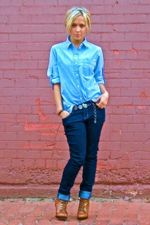 Gap blouse - Forever 21 jeans - Dollhouse boots - Target belt