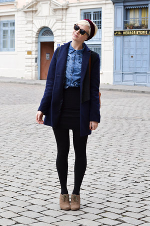 American Apparel skirt - Clarks boots - Urban Outfitters coat - denim H&M shirt