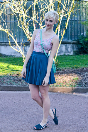 floral print American Apparel dress - mint scallop asos bag