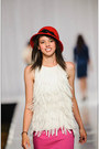 Red-claires-hat-white-frineg-top-ann-taylor-loft-shirt