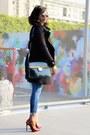 Black-mango-coat-navy-isko-pop-jeans-black-vintage-bag-bronze-h-m-glasses