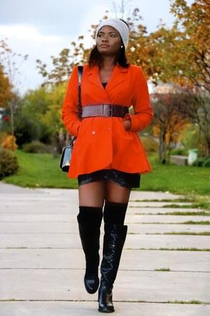 black Zara boots - tawny camaie coat - silver asoscom hat - black Mango bag