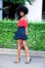 Dark-gray-skirt-dark-gray-primark-heels-red-forever-21-top