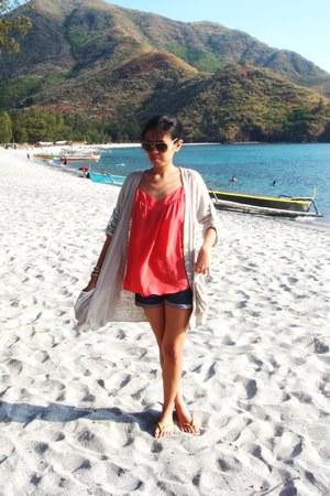 denim Topshop shorts - aviator Mango sunglasses - oversized duerr cardigan - she