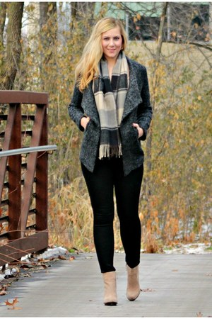 tweed OASAP coat - boots - beige boots - coated Silver Jeans Co jeans