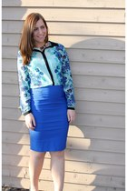 light blue floral print LC by Lauren Conrad blouse - blue Ebay skirt