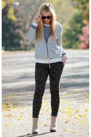 dark green camo Target pants - booties Zara boots - heather gray piperlime coat