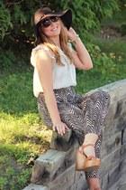 light brown zebra print Forever21 pants - camel Shoedazzle wedges