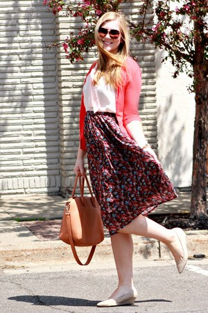 red 10DollarMall skirt - brown JustFab bag - light pink 10DollarMall blouse