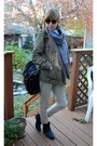Army-green-h-m-jacket-colorblock-scarf-black-uo-bag-tan-zara-pants-black