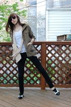 green H&M jacket - beige love21 vest - white t-shirt - black BDG jeans - white o