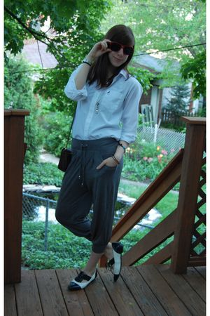 white vintage nautica shirt - gray H&M pants - Aldo shoes - vintage sunglasses