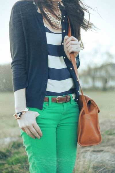 navy cardigan - turquoise blue jeans