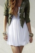 dark green Olive Green Military Jacket jacket