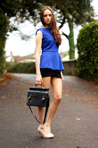 black Loef bag - blue peplum Loef top - black Loef skirt - eggshell OASAP heels