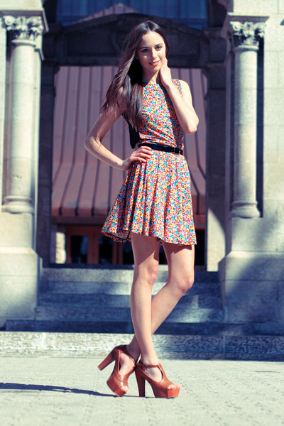 black American Apparel belt - hot pink asos dress - camel sammydress heels