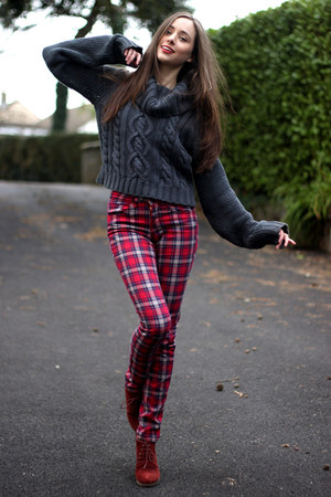 dark gray asos jumper - burnt orange new look boots - ruby red tartan H&amp;M jeans