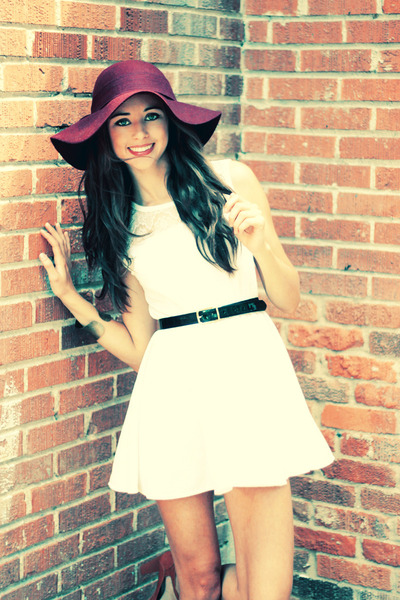 maroon floppy Forever 21 hat - white OASAP dress