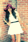 White-oasap-dress-maroon-floppy-forever-21-hat