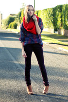 red nowIStyle scarf - bronze new look boots - blue Motel shirt