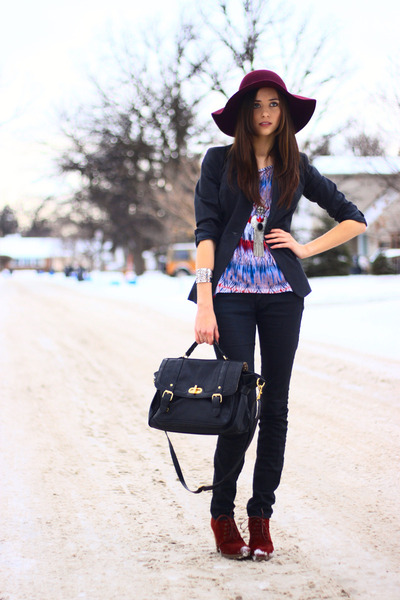 brick red new look boots - magenta Forever 21 hat - black new look blazer