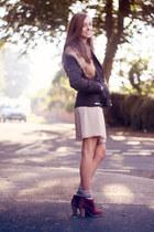 beige chiffon Love dress - maroon new look boots