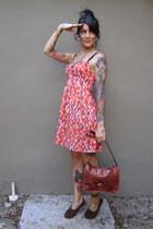 carrot orange Target dress - burnt orange vintage purse - dark brown moccasins f